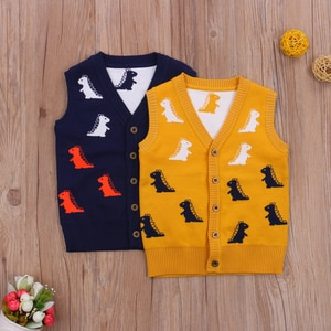 Kid Knitted Patchwork Vest Dinosaur Printed Warm V-Neck Sweater Single Breasted Spring Autumn Waistcoat for 2-8 Y Boys