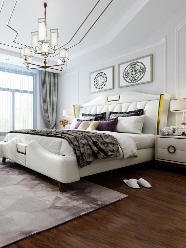 Mesita de noche de cuero de vaca, moderna y minimalista, dormitorio principal,...