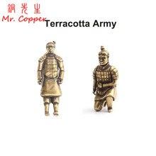 Cobre Grande Imperador de Guerreiros de Terracota da China Miniatures Figurinhas Estátua de Bronze Do Vintage Do Exército de Terracota Ornamentos Decoração Da Sua Casa