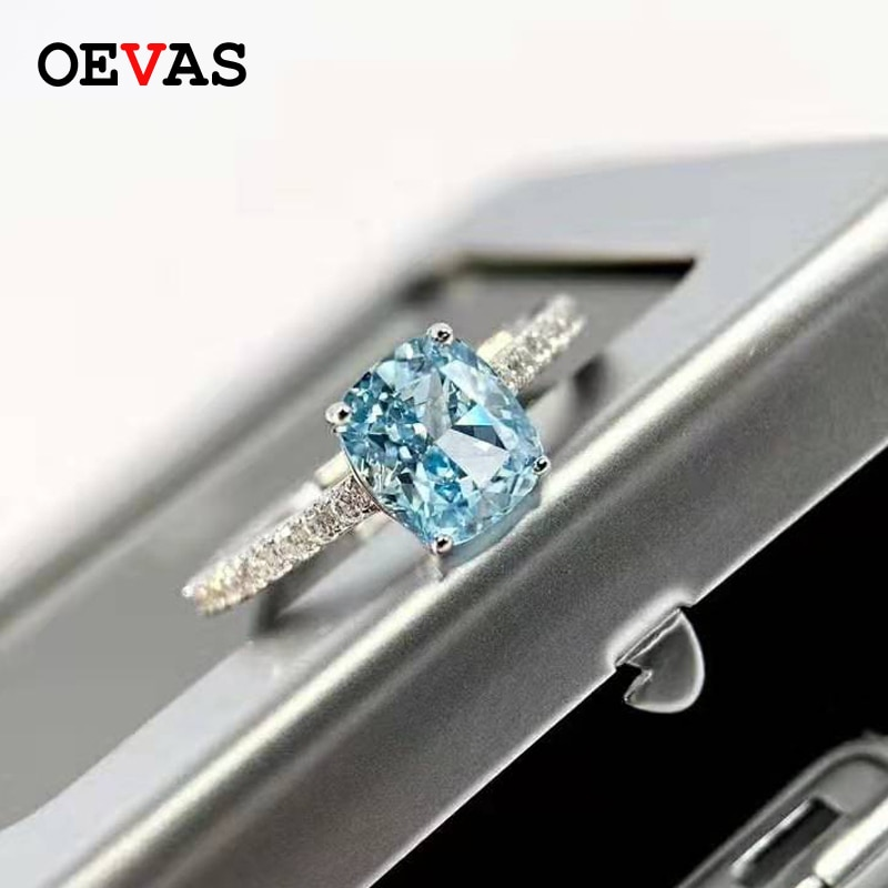 OEVAS-خاتم الزبرجد من الفضة الإسترليني عيار 100% مرصع بالألماس عالي الكربون ، خاتم الزواج ، الخطوبة ، المجوهرات الراقية ، 925