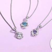 925 sterling silver rose flower shape pendant inlay 3a zircon1 carat lab diamond necklace pendant women classic wedding jewelry