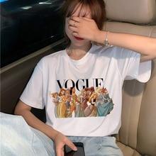 Harajuku Ullzang T Shirt kadın komik karikatür prenses T-shirt 90s grafik estetik Tshirt moda Kawaii en Tees kadın
