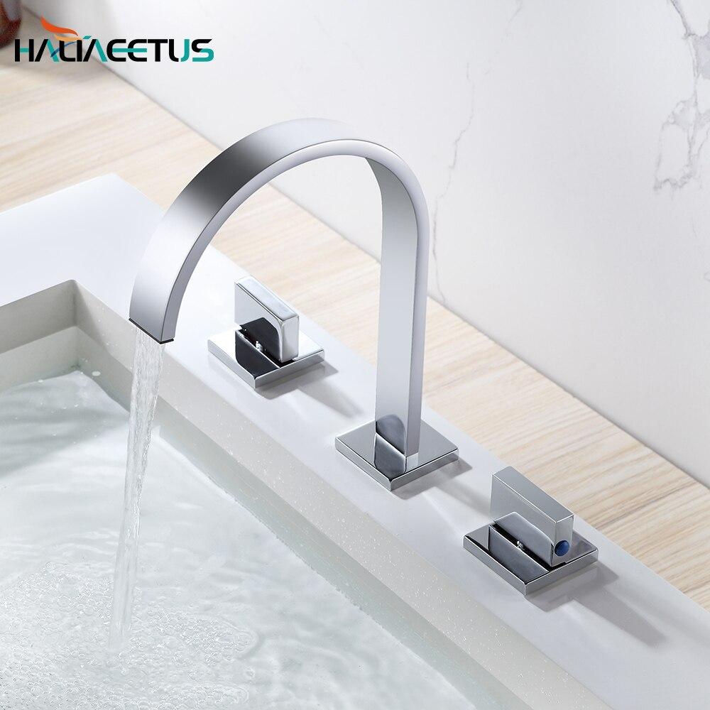 صنبور خلاط الحمام، نطاق واسع من الكروم المصقول, مقبضين ، ثلاثة ثقوب مثبّتة على الحوض