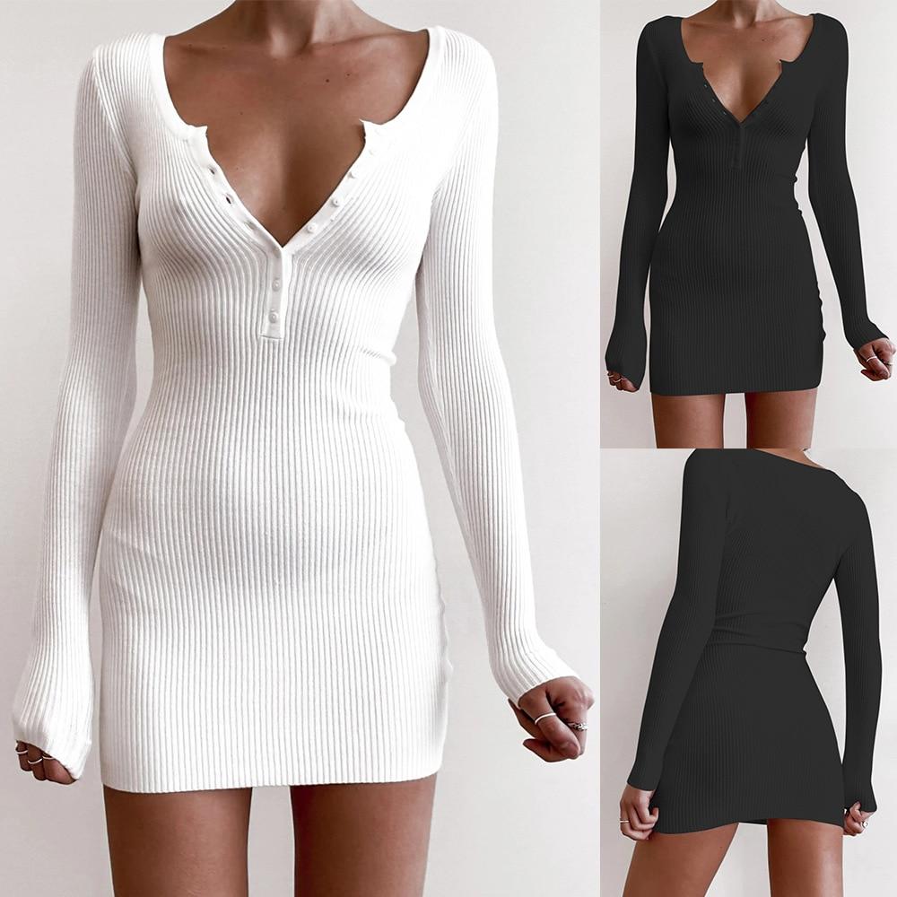 Новое Осеннее женское однотонное облегающее платье с v-образным вырезом, Сексуальное мини платье с низким вырезом на пуговицах, женское мод...