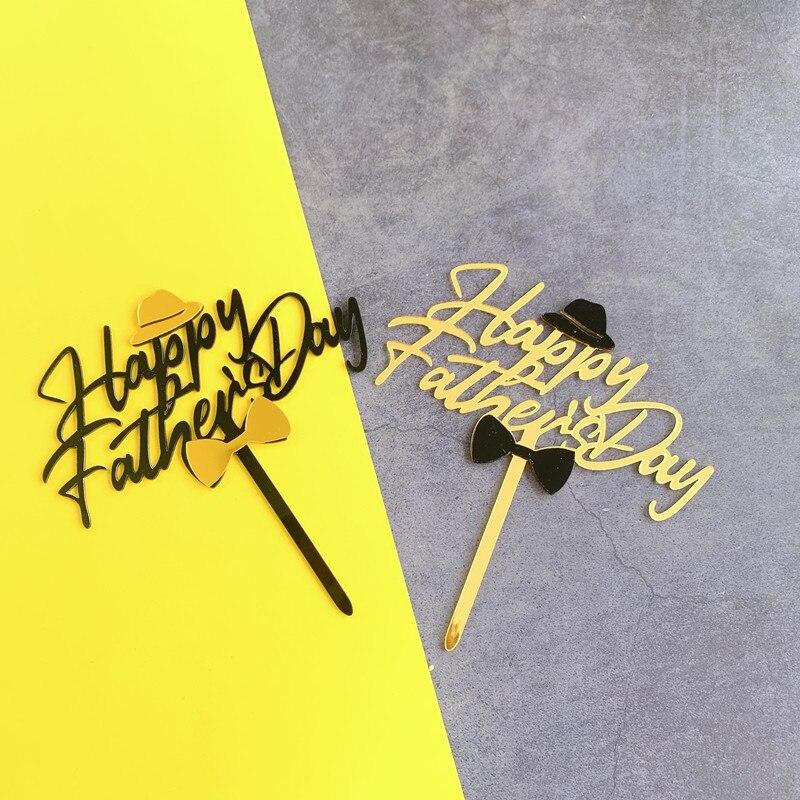 Акриловый черный золотой Топпер для торта на день счастливого отца украшения тортов инструменты для украшения торта
