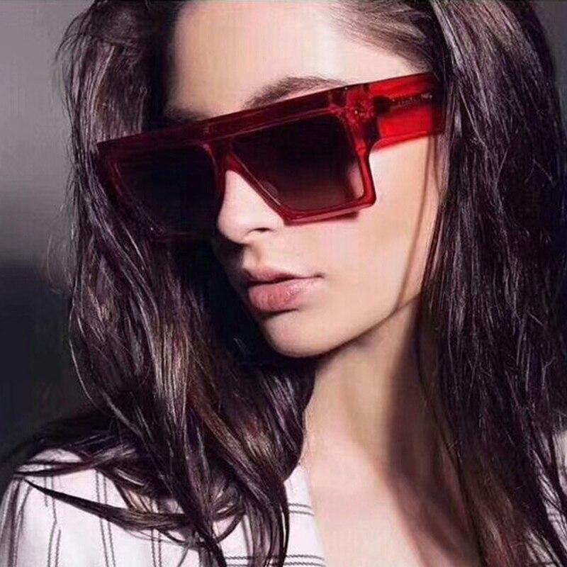 Unisex Star Style Brand Designer Oversize Sunglasses Women Fashion Flat Top Full Frame Sun glasses F