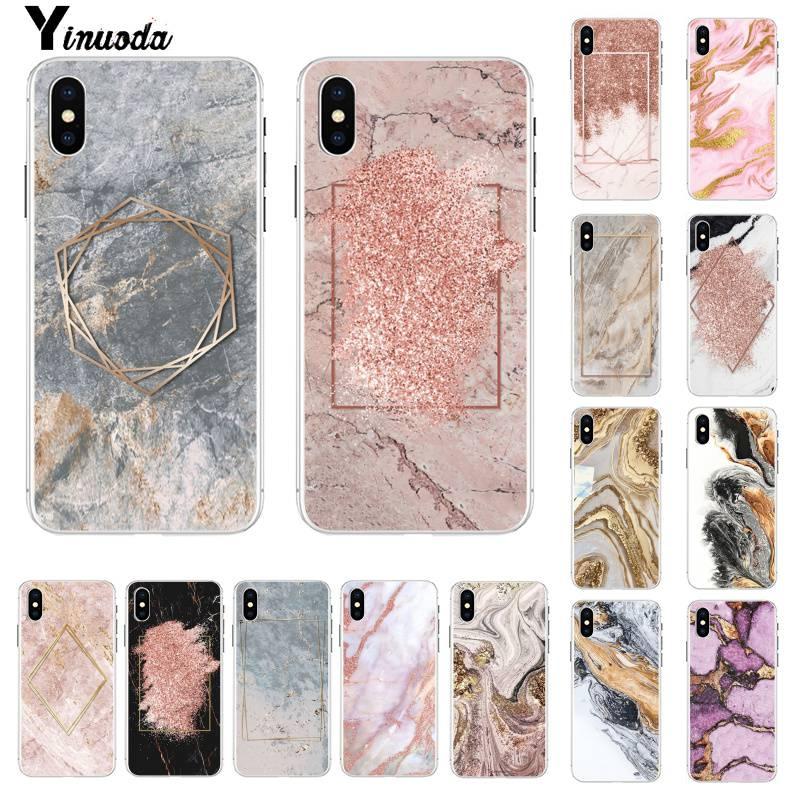 Yinuoda золотой розовый серый и коричневый золотой мраморный чехол для телефона на заказ для iphone SE 2020 11 pro XS MAX 8 7 6 6S Plus X 5 5S SE XR