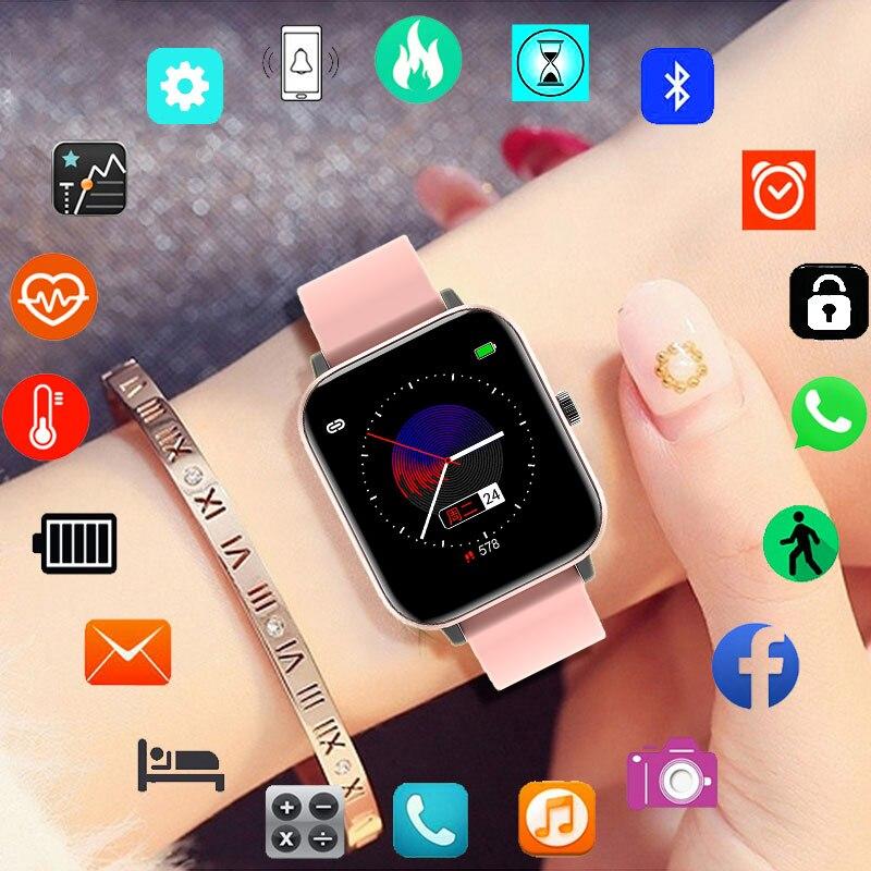 Sport Smartwatch Bluetooth zadzwoń i mów kobiety inteligentny zegarek mężczyźni w pełni dotykowy opaska sportowa zegar Android IOS telefon nadgarstek panie