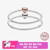 top sale sterling 925 silver moments pav%c3%a9 heart clasp snake chain bracelet fit original charm beads for women diy jewelry gift