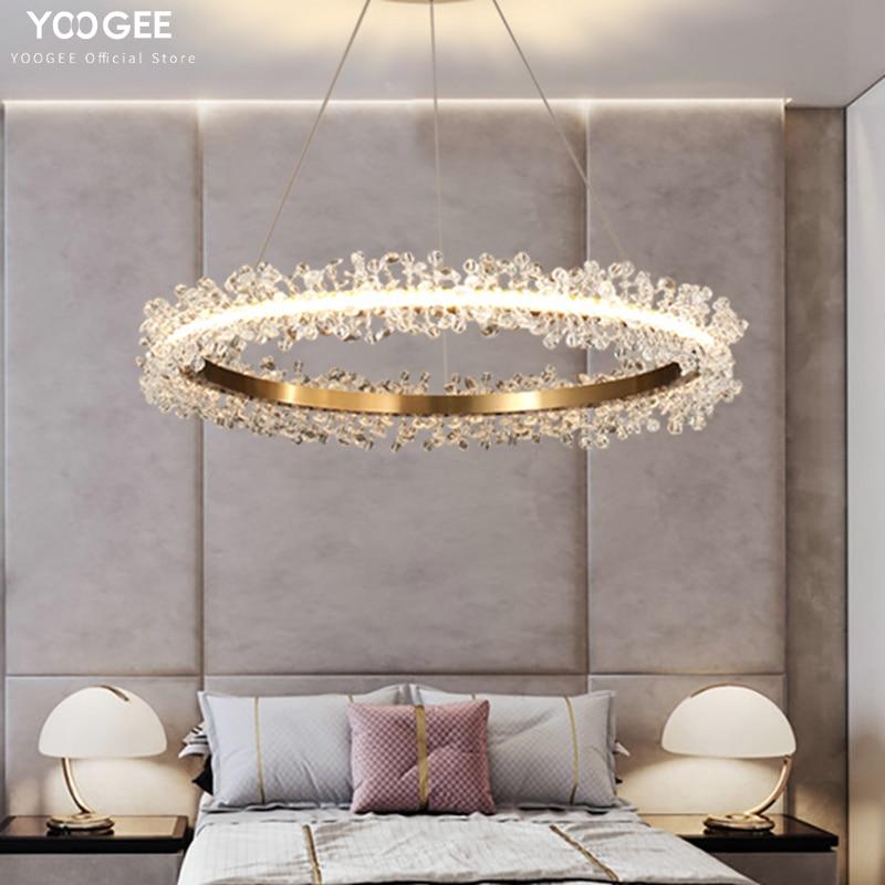 YOOGEE modern crystal chandelier for living room kitchen island loft indoor gold round LED lights home decoration lamp