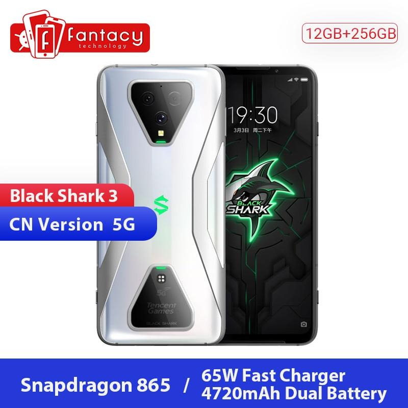 Original Xiaomi Schwarz Shark 3 5G Snapdragon 865 12GB 256GB Spiel Telefon Octa Core 6.67 ''AMOLED 64MP Triple Kameras 65W 4720mAh