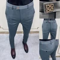 spring 2021 new mens suit pants fashion business casual slim dress pants mens street wear social formal pantalon clothing