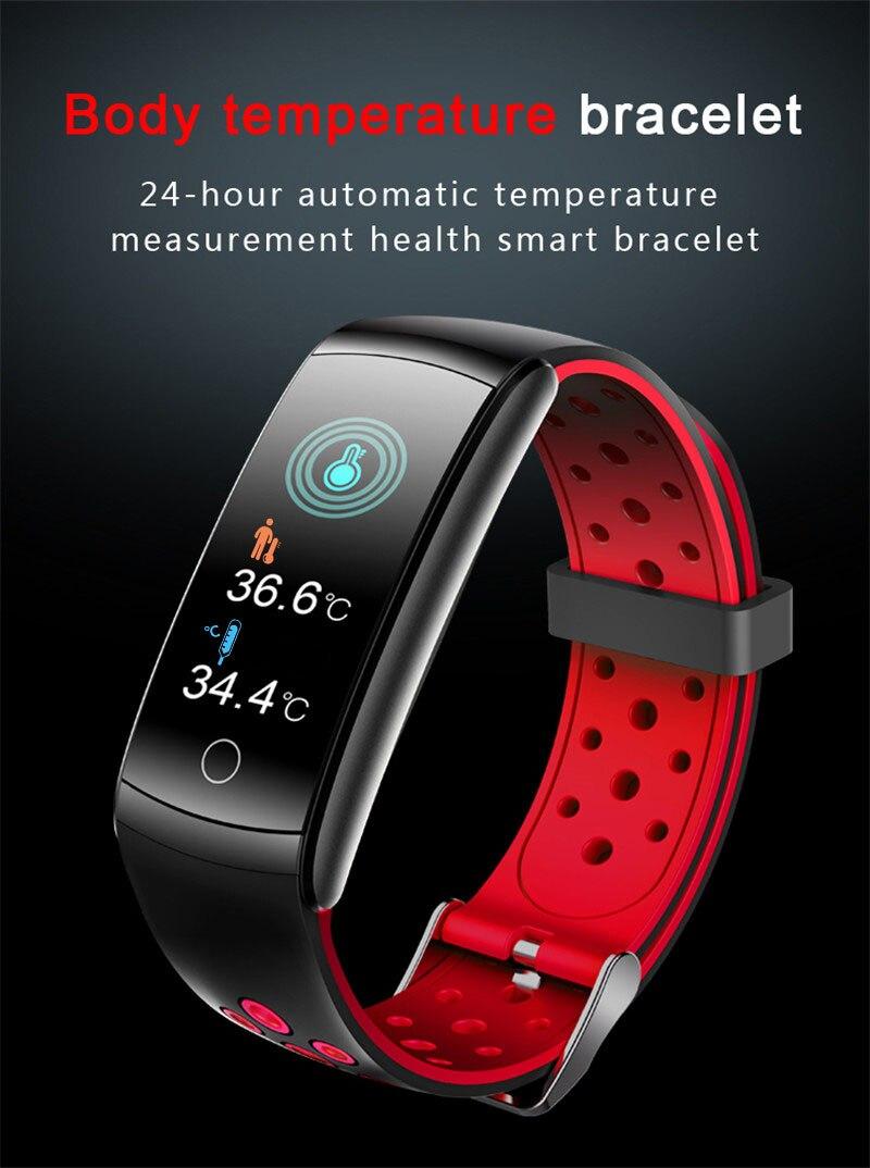 سوار ذكي 24 ساعة مراقبة درجة حرارة الجسم الحقيقي Q8T ديناميكية معدل ضربات القلب ساعة ضغط الدم IP68 مقاوم للماء الرياضة