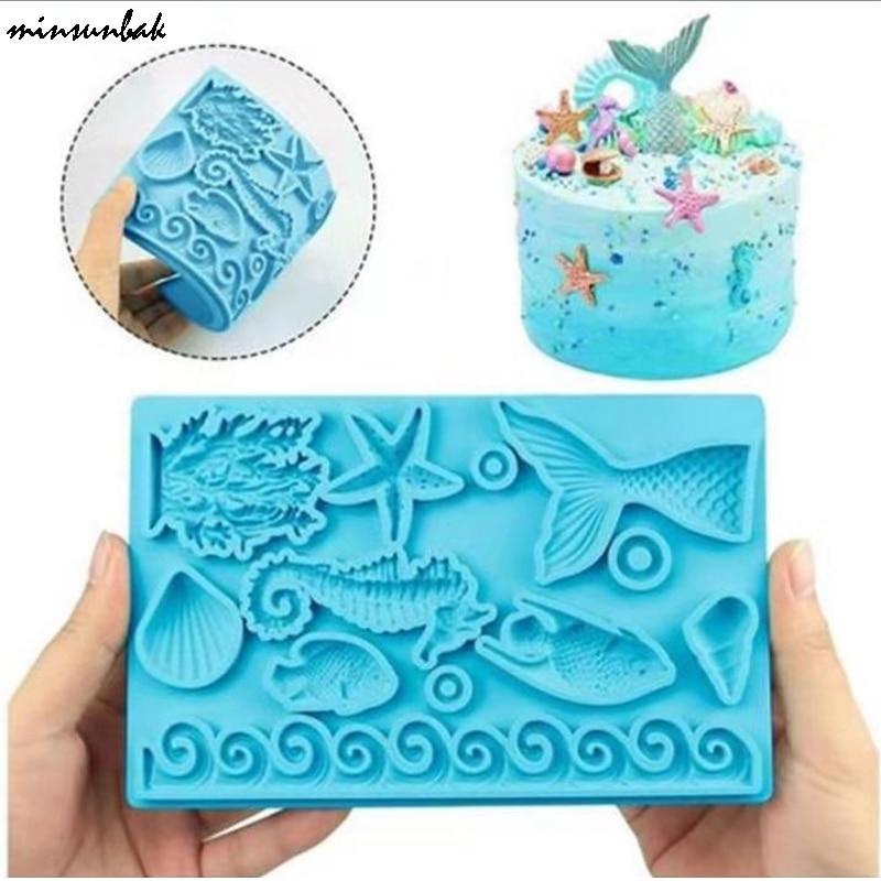 minsunbak Mermaid Tail Silicone Mold  Conch Coral Starfish Texture Chocolate Fondant Mold  Wedding Party Cake Decoration