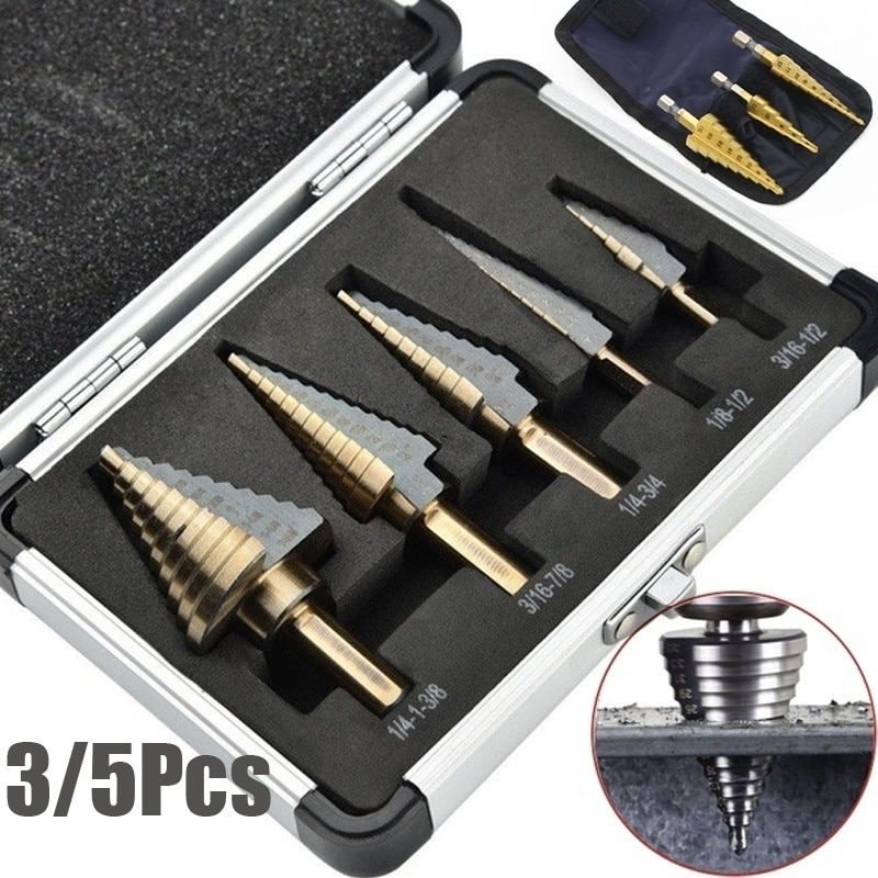 HSS 4241 kobaltowy wiele otworów 50 rozmiarów zestaw wierteł stopniowych narzędzia aluminiowa obudowa metalowa wiertarka do metalu drewno wiertło stopniowe stożkowe