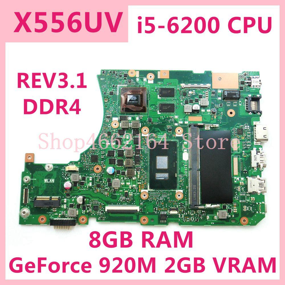 X556UV i5-6200 وحدة المعالجة المركزية GeForce 920 متر/2 جرام REV3.1 8 جرام RAM اللوحة الرئيسية ل ASUS X556UV X556UB X556UR X556UF X556UJ اللوحة الأم للكمبيوتر المحمول اختبارها