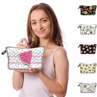 women cosmetic bag watermelon pineapple fruit print makeup bag organizer zipper handbags toiletry tool travel accessories