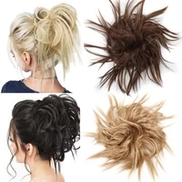 synthetic chignon messy scrunchies elastic band hair bun fluffy personality hair ring high temperture fiber hairpiece