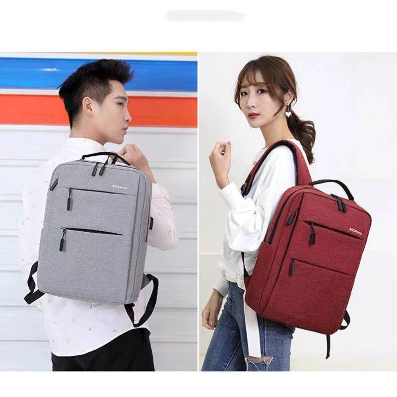 New Solid Color Retro Style Business Backpack Men and Women Middle School Students Simple Double Zip