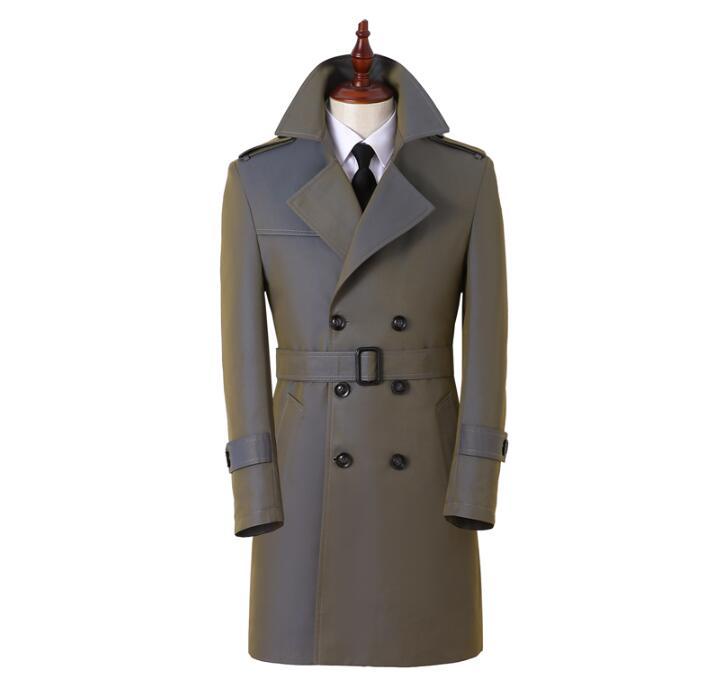 معطف طويل إنجليزي متدرج للرجال ، ملابس مزدوجة الصدر ، نحيف ، أكمام طويلة ، غير رسمي ، ربيع-خريف