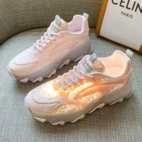 2021 summer new korean rendy thin mesh single mesh breathable best selling leisure jelly bottom heightened daddy shoes women