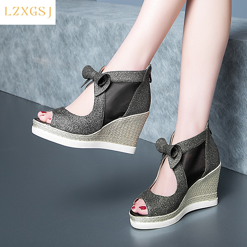 New Summer Sandals Women 2021 Peep Toe High Heels With Platforms Wedges Sandals Female Fashion Casual Women's Spring Shoes