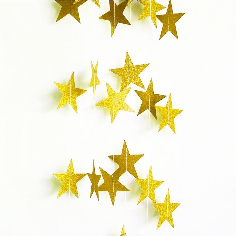 Glitter oro plata estrellas rojas guirnalda de papel para boda cumpleaños fiesta decoración telón de fondo foto Prop Navidad árbol Decoración