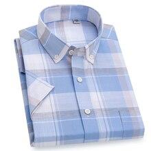 Chemise à manches courtes pour hommes à carreaux en pur coton, à la mode, respirant avec poche, Cool pour lété