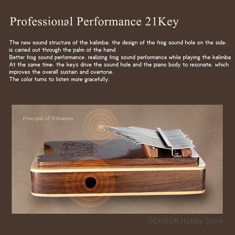 Hluru NEW Class A Kalimba 21 key Hollow Side Sound Hole Mbira Keyboard Instrument High Quality Thumb Piano Calimba Music box enlarge