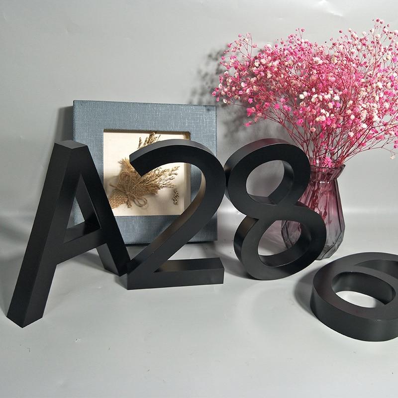 Métal noir 3D moderne maison numéros signe 0-9 ABC extérieur étanche hôtel en acier inoxydable Lettre adresse porte signe nom plaques