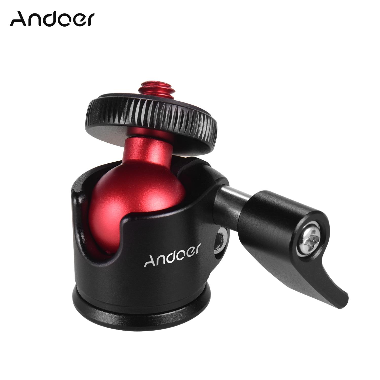 Andoer Mini Tripod Ball Head with 1/4in Screw 360 Degree Swivel Aluminum Alloy Photography Ballhead Tripod  for DSLR Camera