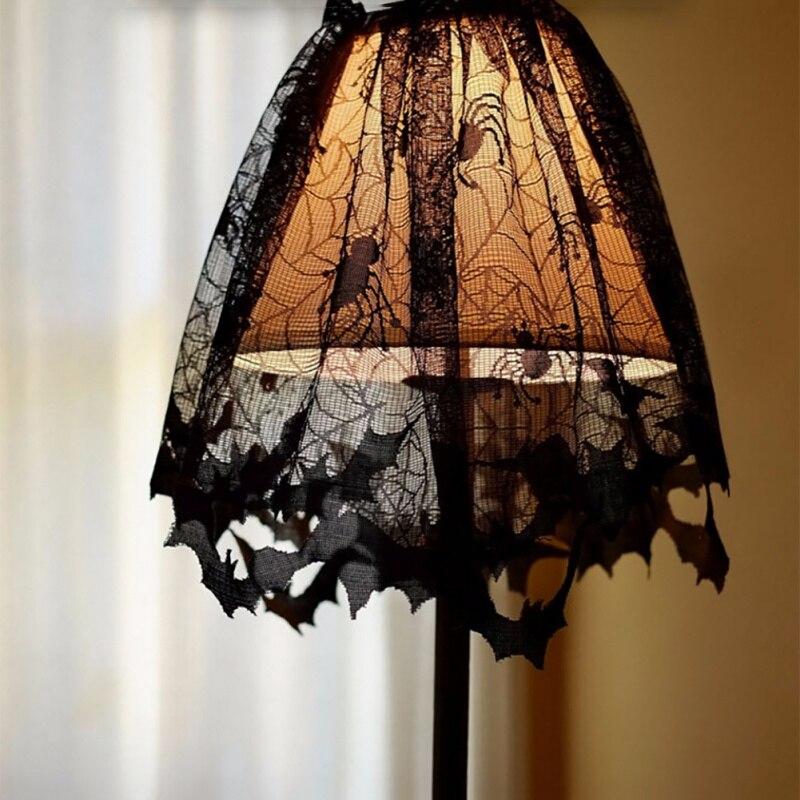 Mantel de tela de chimenea con diseño de murciélago araña de encaje negro