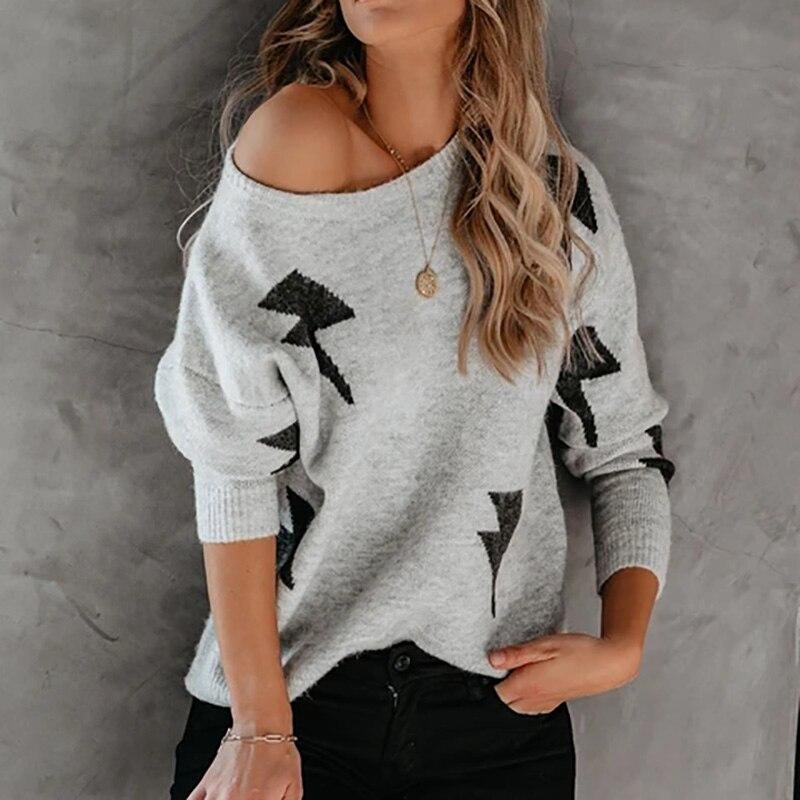 Women Long Sleeve Casual Slim Pullover Jumper Knitwear Basic Sweater Autumn Winter 2021 Lightning Sweaters Female New Clothing недорого