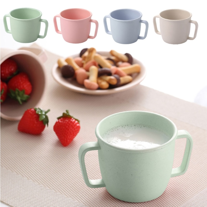 baby straw cup printed anti suffocation handle Wheat Straw Environmental Water Cup Children Breakfast Double Handle Eco-Friendly Milk Drink Cup For Baby