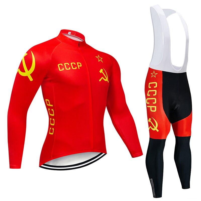 2021 CCCP الدراجات جيرسي 9D مريلة مجموعة متب موحدة الأحمر دراجة الملابس الربيع/الخريف سريعة الجافة دراجة ملابس رجالي طويلة ركوب الدراجات ارتداء
