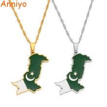 Anniyo Pakistan mapa i wisiorek flaga naszyjniki stal nierdzewna i kolor srebrny/złoty kolor pakistańska biżuteria etniczna #157721
