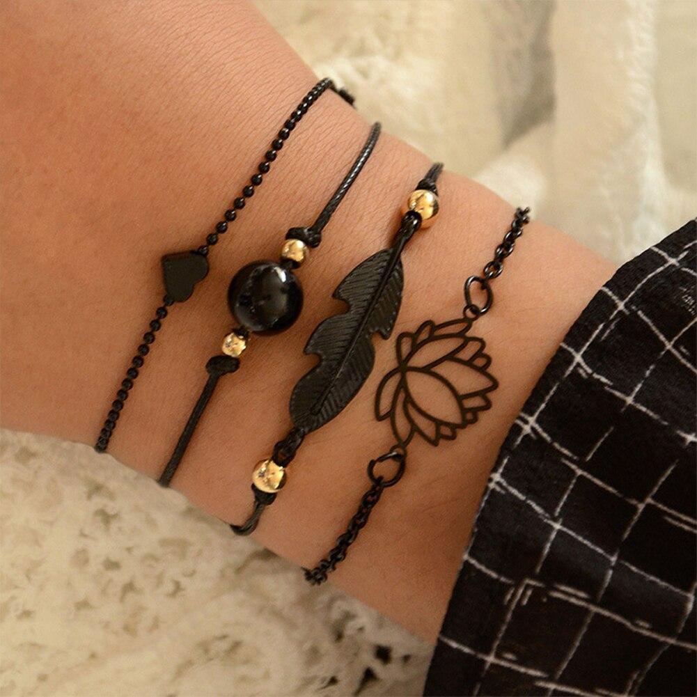 4 Uds negro pluma Lotus pulseras colgante de corazón Boho brazaletes para las mujeres cadena para la muñeca pulseras de joyería de moda