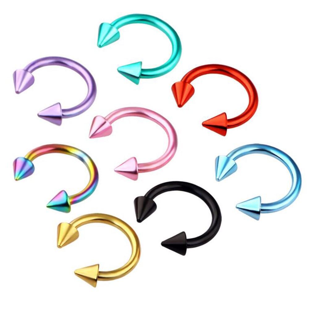 Piercing 2 uds, Piercing de nariz de acero inoxidable, herradura, punta, Septum, Piercing para ceja, Piercing, Tragus, helicoidal, labio, joyería corporal