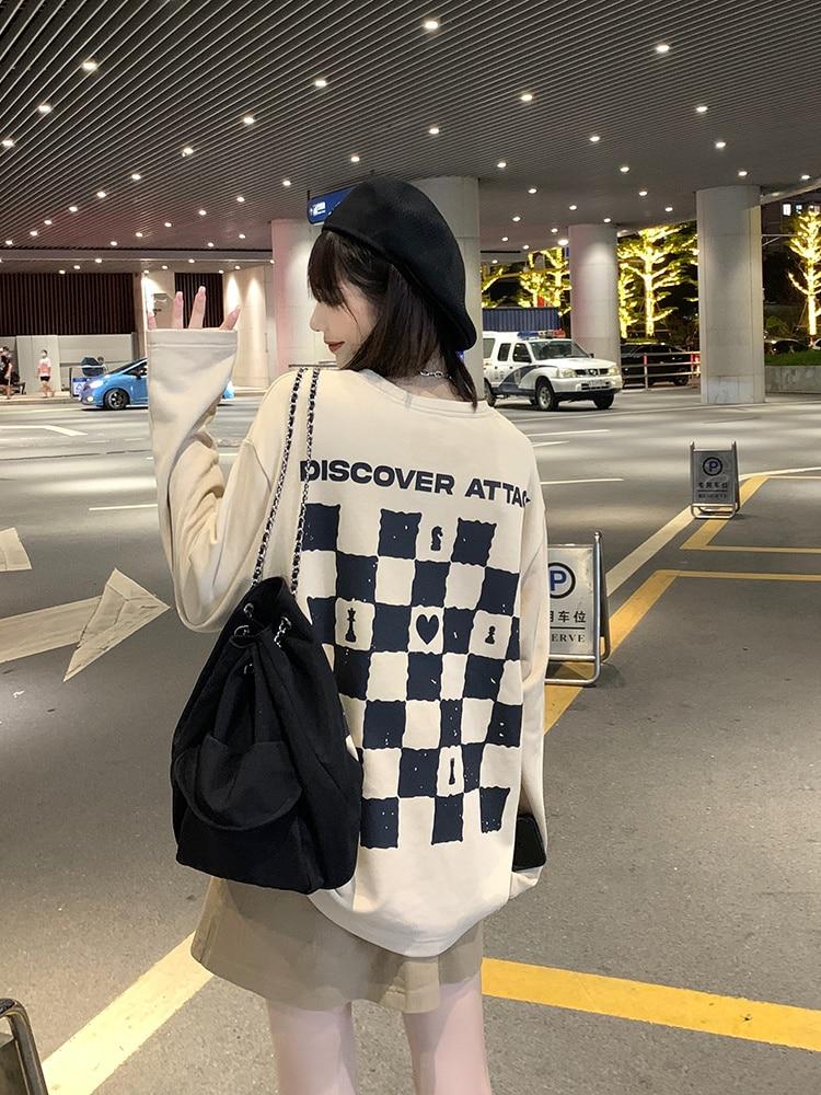 Chessboard Checkered Sweater Women's New Autumn 2021 Long Sleeve T-shirt Long Sleeve Top Versatile P