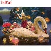 fatcat swan kids diy 5d diamond painting cross stitch full square round drill diamond embroidery sale home decoration ae3138