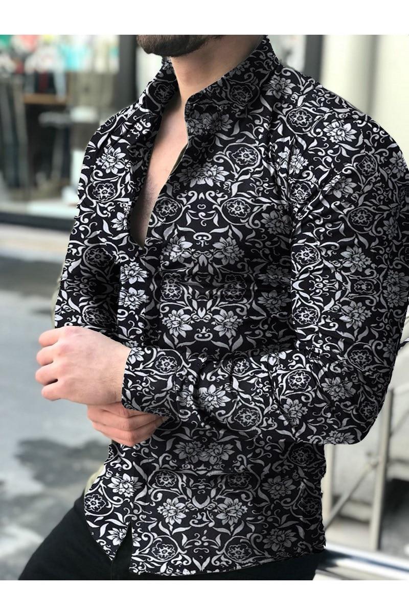 Camisa manga larga para hombre, Top 2021 Floral, blusa informellen, camisas Hawaianas, ropa masculina