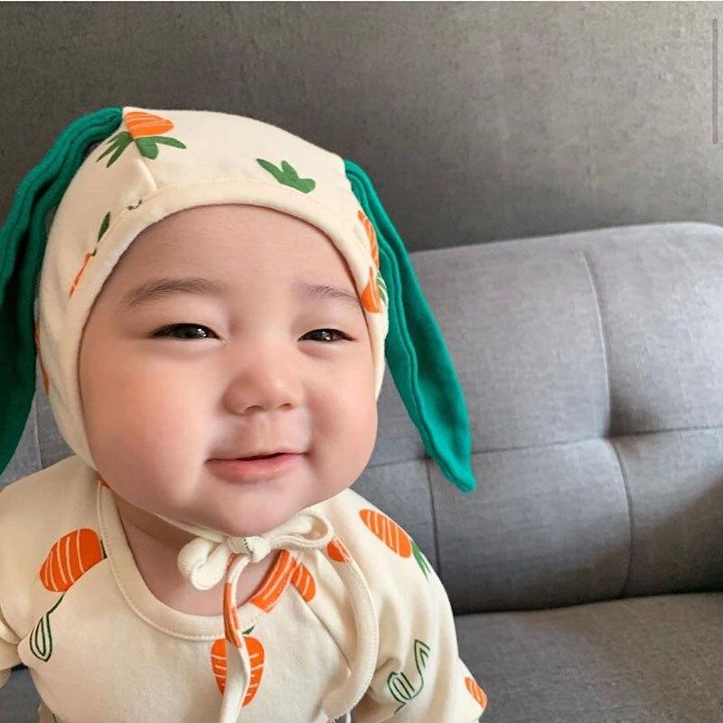 MILANCEL2020, ropa para bebé, estampado de zanahoria y manzana, bodis para niños y niñas, mono bonito para bebé de una pieza con sombrero