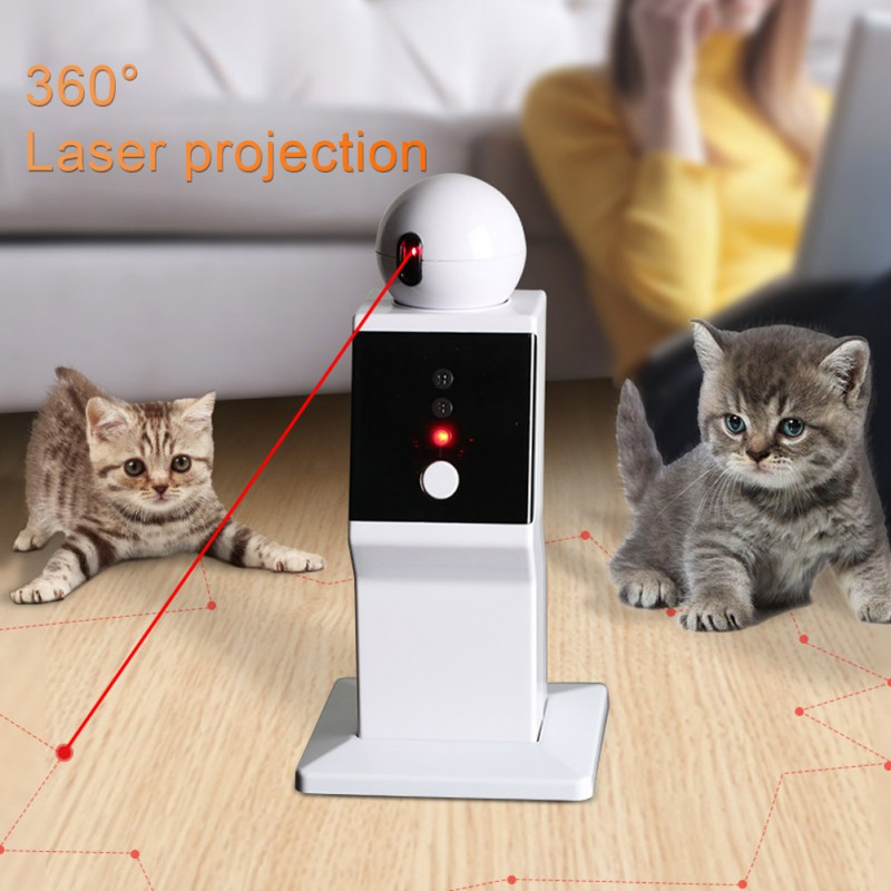 Smart Cat Interactive Toy Robot Laser Toy Auto Rotating LED Laser Teasing Cat Exercise Training Playing Toy For Cat USB Charging automatic 360 degree rotating laser light cat interactive toy