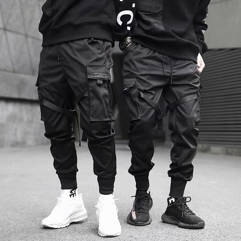 Ribbons Harem Joggers Men Cargo Pants Streetwear 2020 Hip Hop Casual Pockets Track Pants Male Haraju