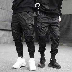Ribbons Harem Joggers Men Cargo Pants Streetwear 2020 Hip Hop Casual Pockets Track Pants Male Harajuku Fashion Trousers