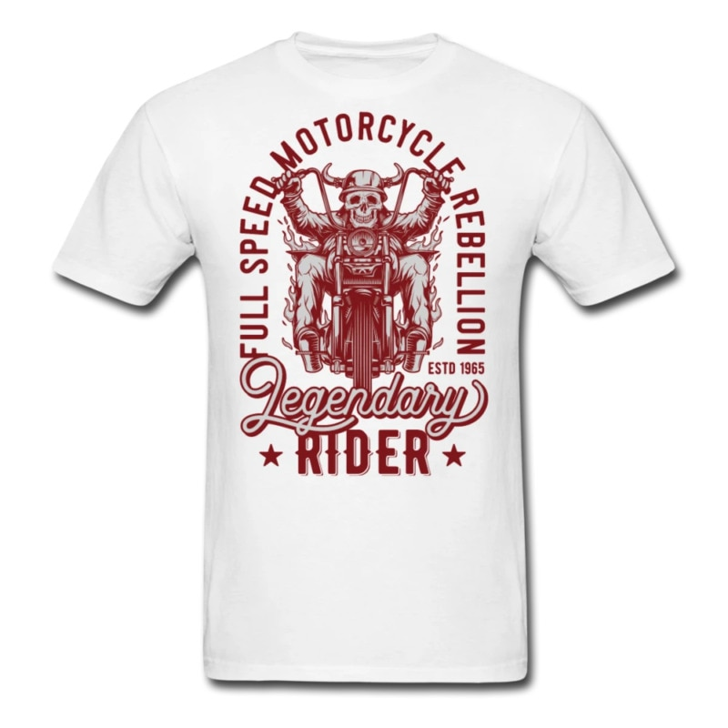 Camiseta de moto Chopper motorista calavera cuernos para cascos Tee Speed Rebelion