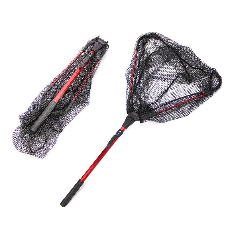 Liga de alumínio triangular portátil dobrável redes de pesca 80cm telescópica rede de pesca pólo de pesca de aterragem