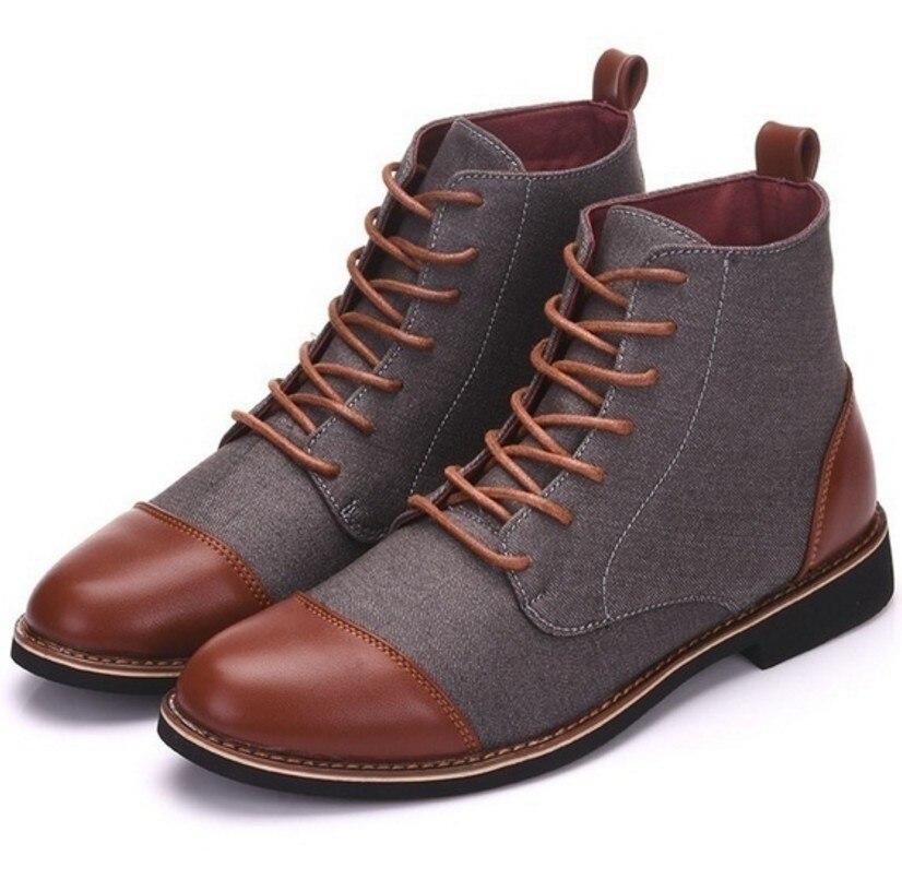 Зимние мужские ботинки для снежной погоды, теплые плюшевые мужские ботинки больших размеров, зимняя повседневная кожаная обувь с острым но...