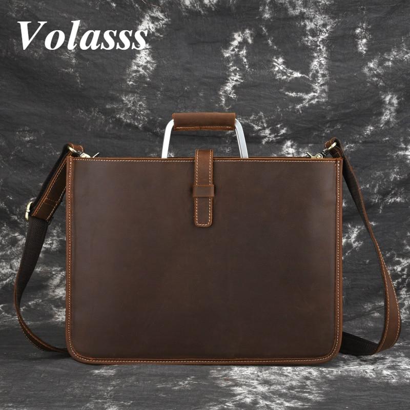 Volasss Vintage Business Briefcase For 14.1-inch Laptop Handbag For Men's Genuine Leather Men High Quality Luxury Shoulder Bags