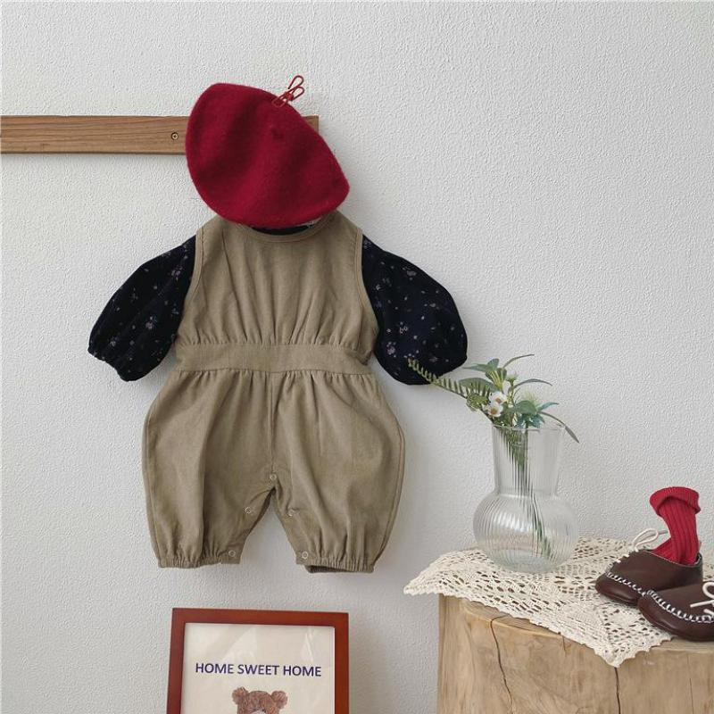 2021 Autumn New Baby Corduroy Romper Sleeveless Jumpsuit With Girls Floral Shirts 2pcs Kids Overalls